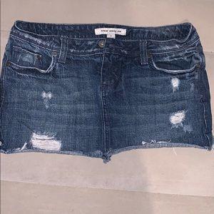 F21 Distressed Jean Mini Skirt